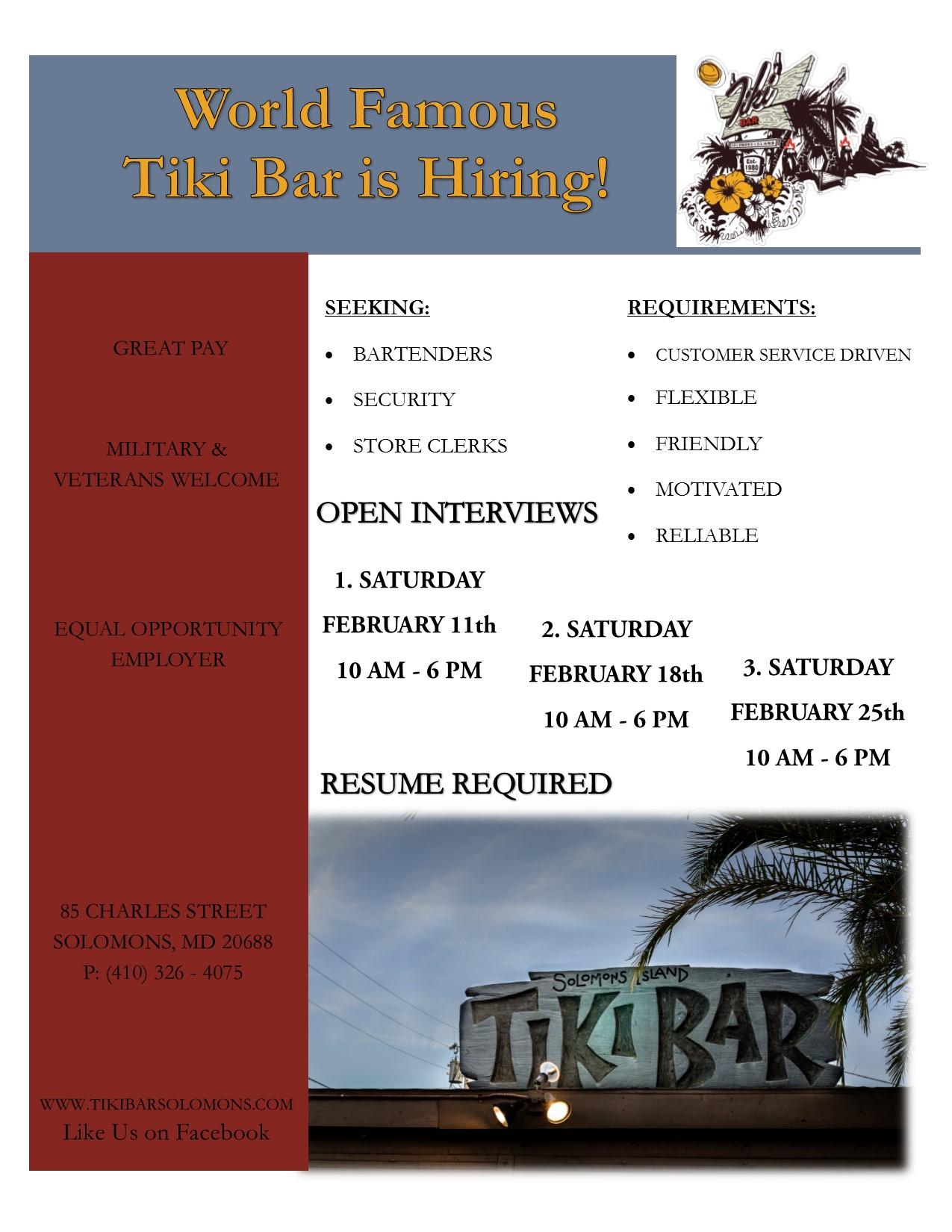 Tiki Bar Hiring 2017